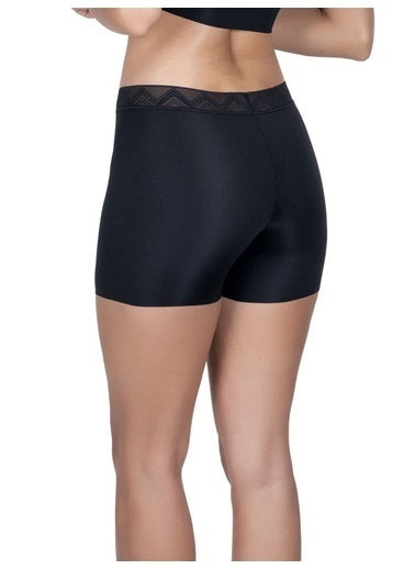 Cottonhill Ten Desenli Lastikli Yüksek Bel Lazer Kesim Kadın Boxer Külot Siyah